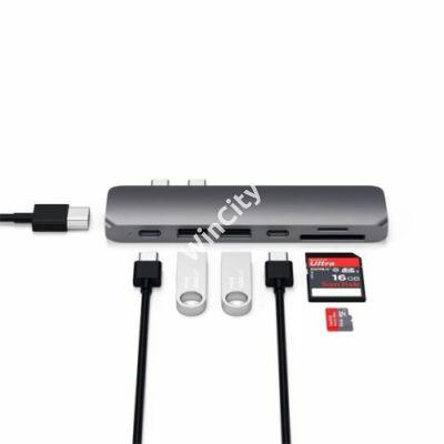Satechi Aluminium TYPE-C PRO Hub (HDMI 4K,PassThroughCharging,2x USB3.0,2xSD,ThunderBolt 3) - Space Grey