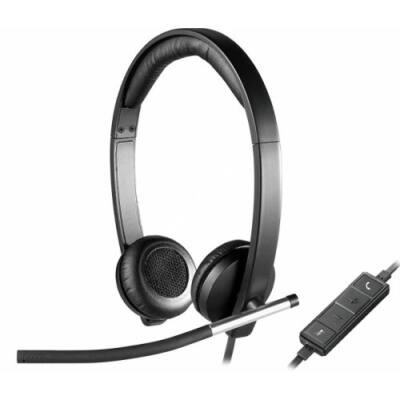Fejhallgató Logitech H650e Mikrofonnal Fekete USB