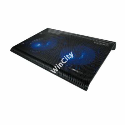 """Trust Notebook Hűtő Pad - Azul (USB-ről működő 2x ventilátor; 17,3""""-ig; USB port; fekete)"""