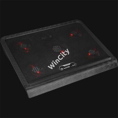 "Marvo Notebook Hűtőpad 17""-ig - FN-31 RD (28dB; max. 127.42m3/h; 4x14cm, piros LED, 2xUSB2.0)"
