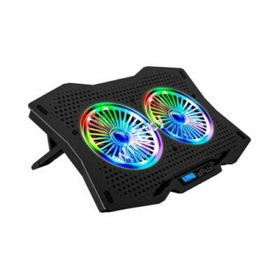 """Rampage Notebook Hűtőpad 17""""-ig - AD-RC9 TORNADO (20dB; 2*11,5cm venti, 1200rpm, RGB LED) Fekete"""
